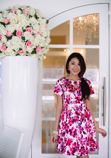 Floral Cartier Dress in Magenta Pink