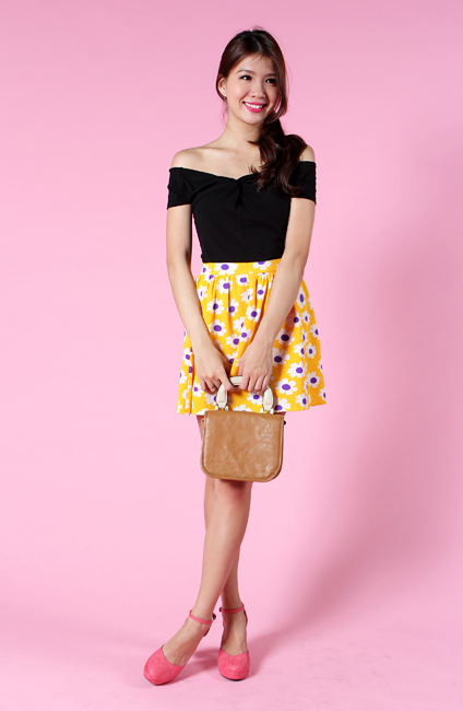 Daisy Romance Skirt in Sunshine Yellow Florals