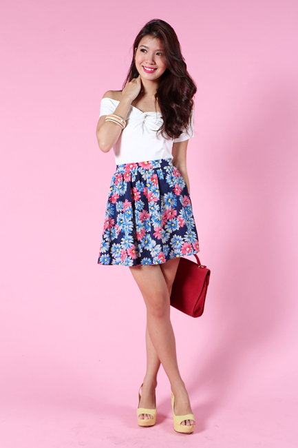 Daisy Romance Skirt in Navy Florals