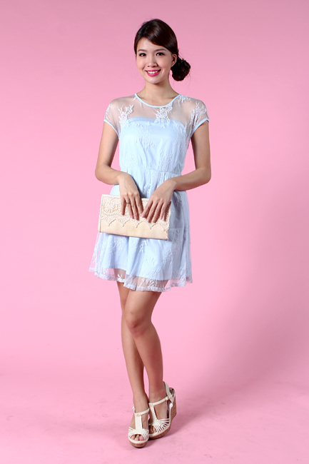 Faerie Lace Dress in Powder Blue
