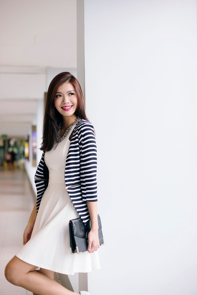 Jillian's Zipped Cropped Blazer in Stripes