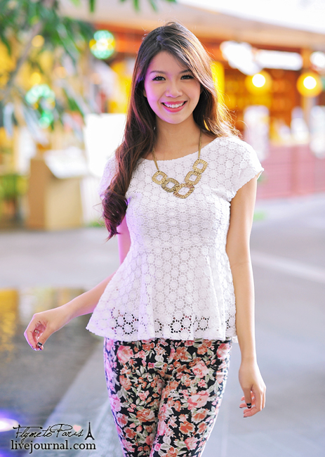 Tessa's Crochet Peplum Top in White