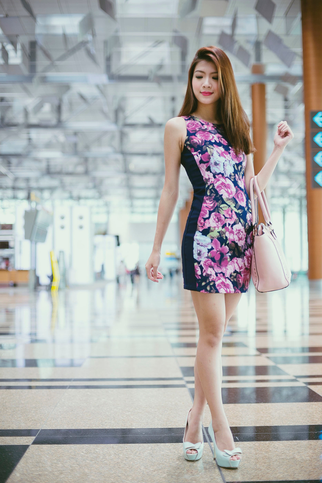 Sonia Side Panel Dress in Navy Florals