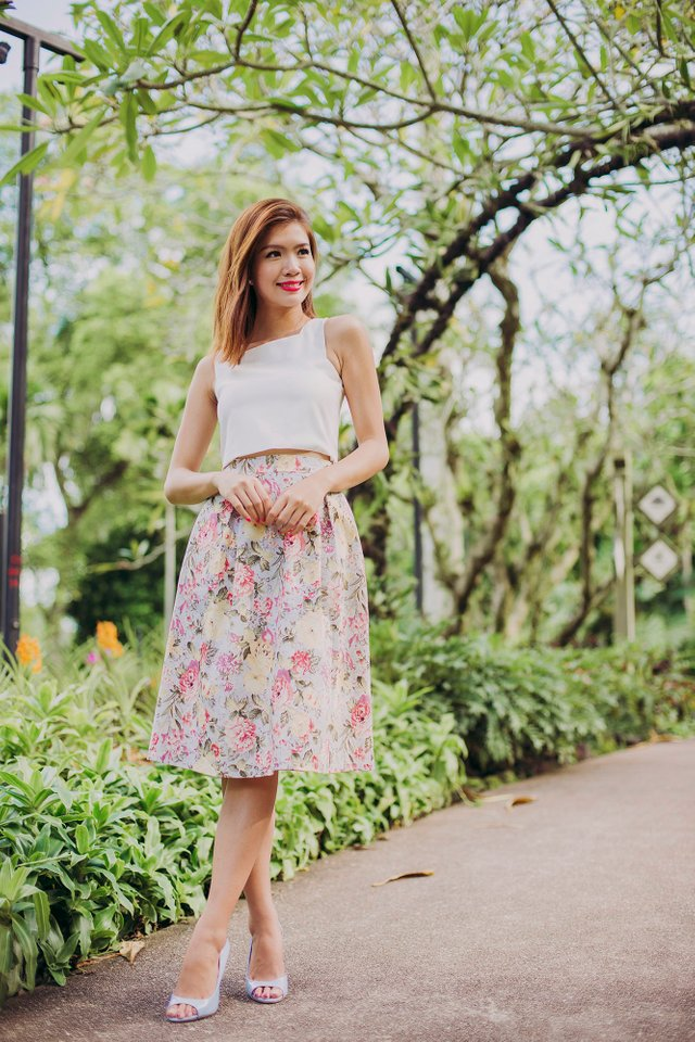 Sweet Garden Floral Midi Skirt in Powder Blue