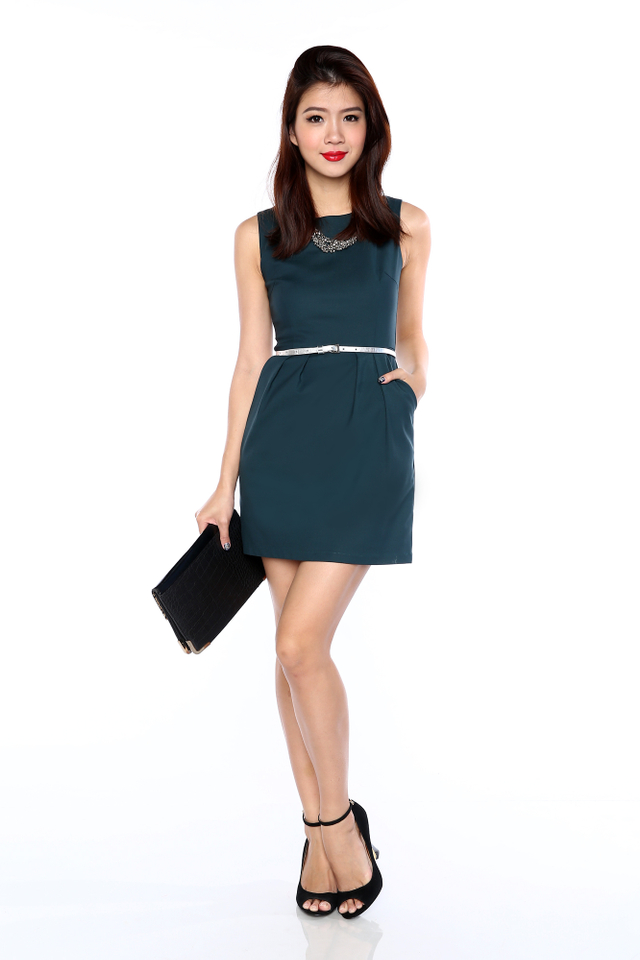*RESTOCKED* Corporate Beauty Dress in Forest Green