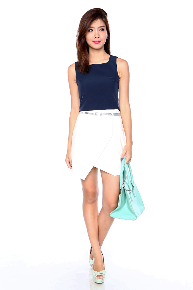 Charlize Square Neck Cropped Top in Navy