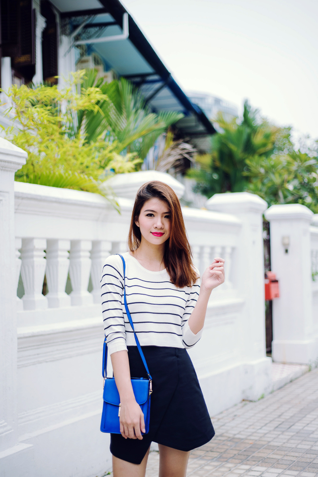 Caitlyn Striped Knit Top in Cream White
