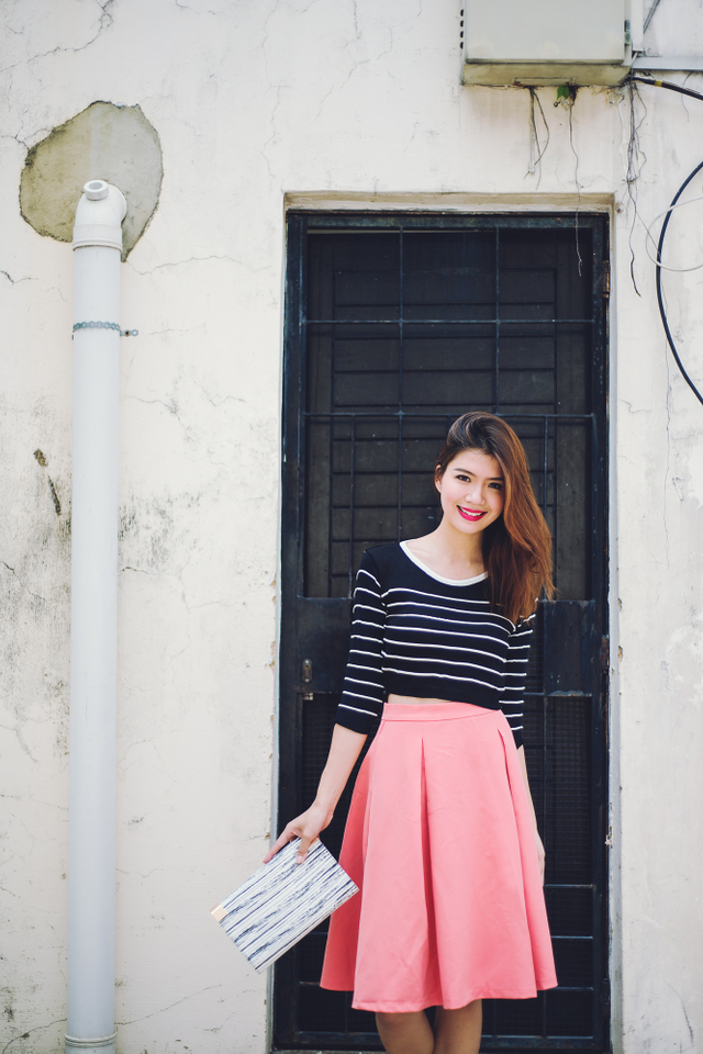 Caitlyn Striped Knit Top in Black