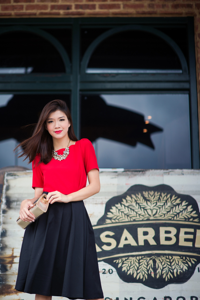 Faye Square Neck Top in Red