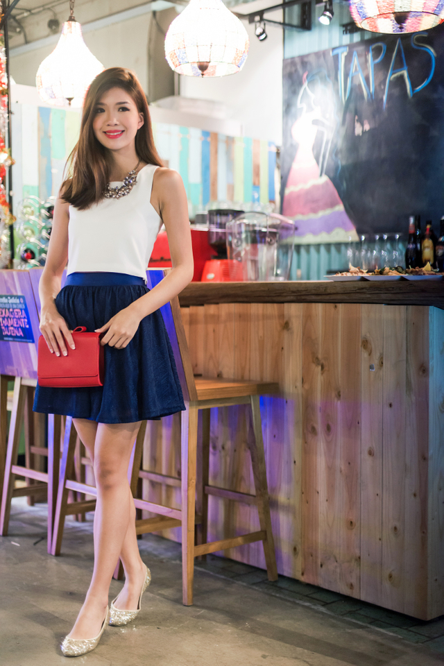 Lace Doll Constellation Skirt in Navy
