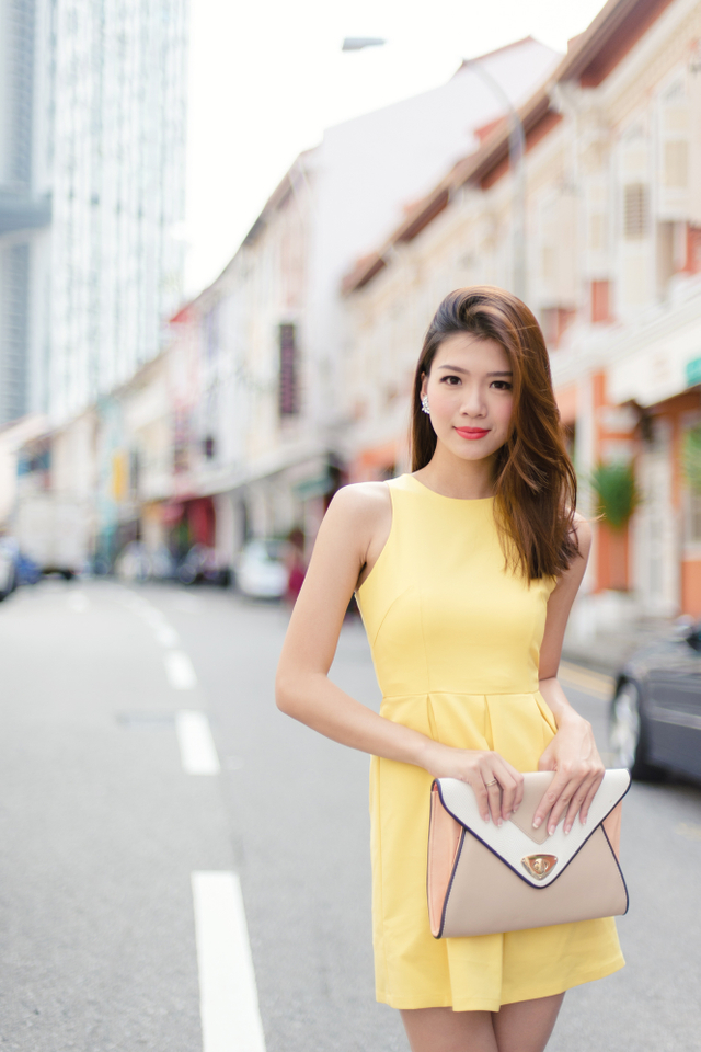 Reanne Dress in Solid Yellow