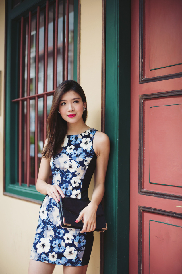 Sonia Side Panel Dress in Blue Pansies