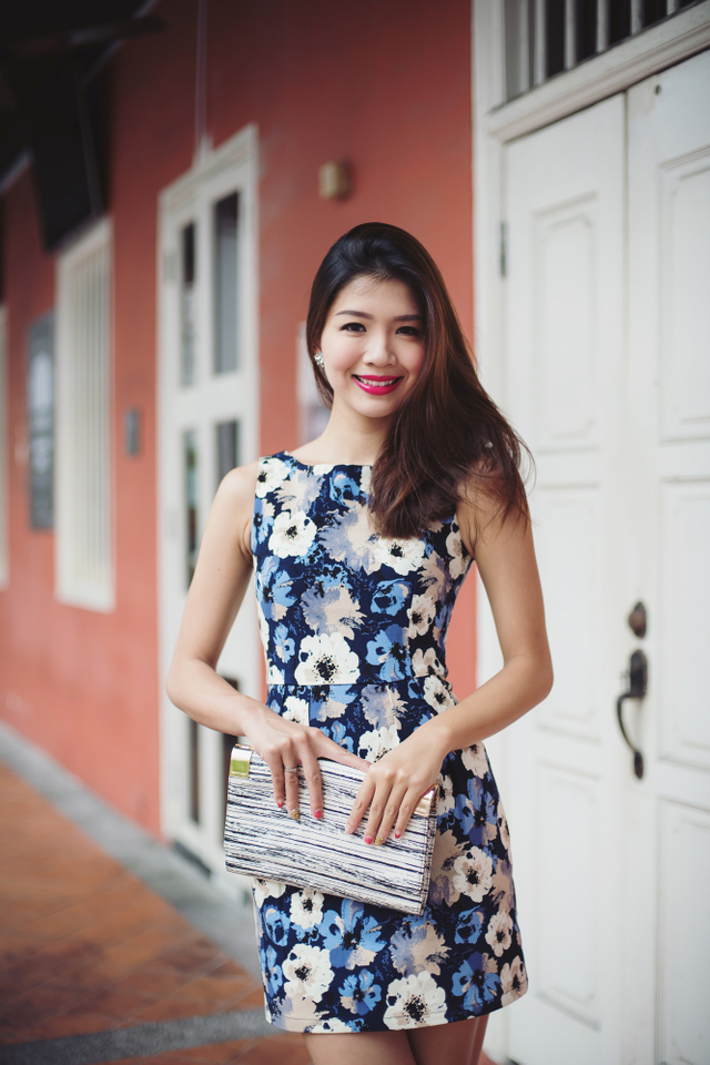 Corporate Beauty Dress in Blue Pansies