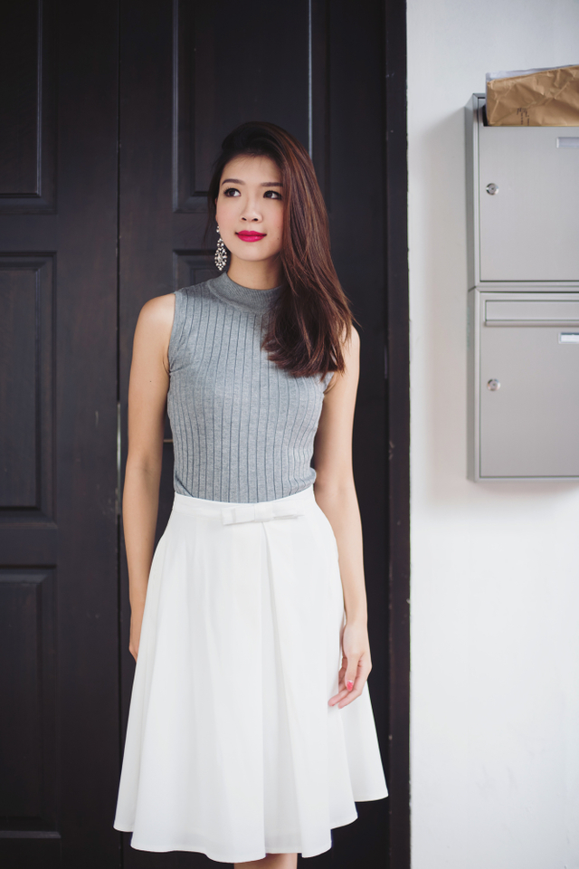 Coco High Neck Knit Top in Heather Grey