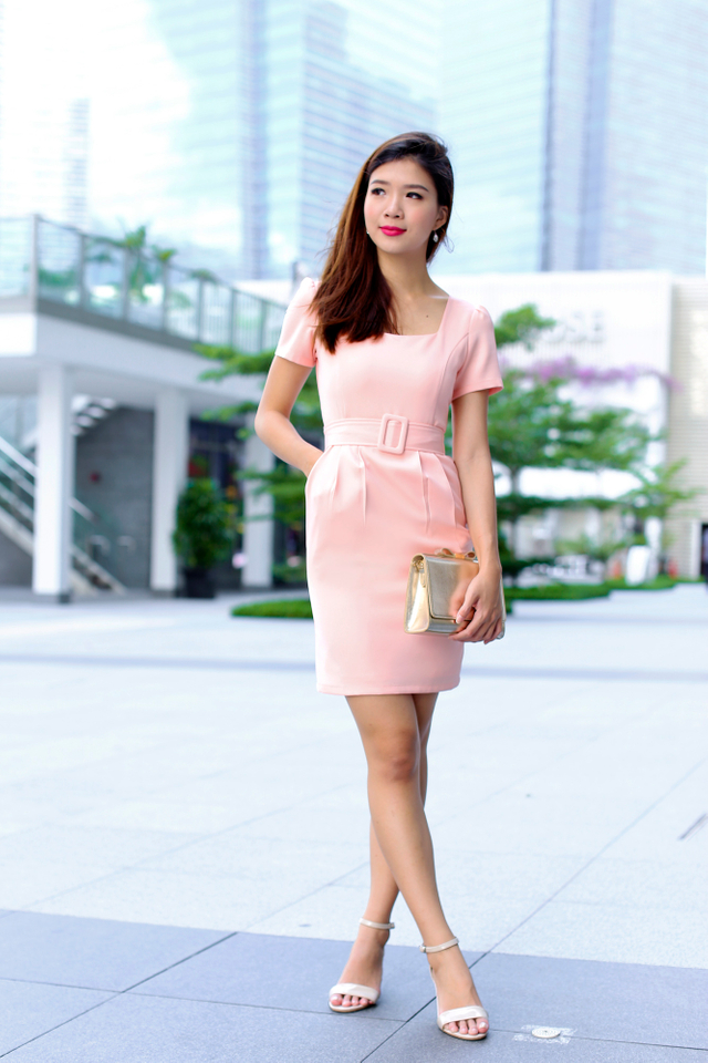 Shelia Square Neck Pencil Work Dress in Peach Pink