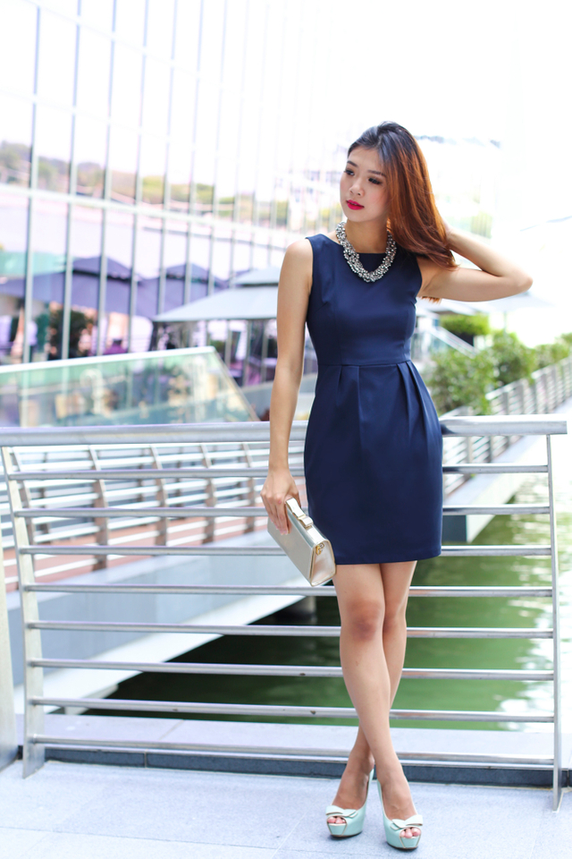 *RESTOCKED* Corporate Beauty Midi Dress in Navy