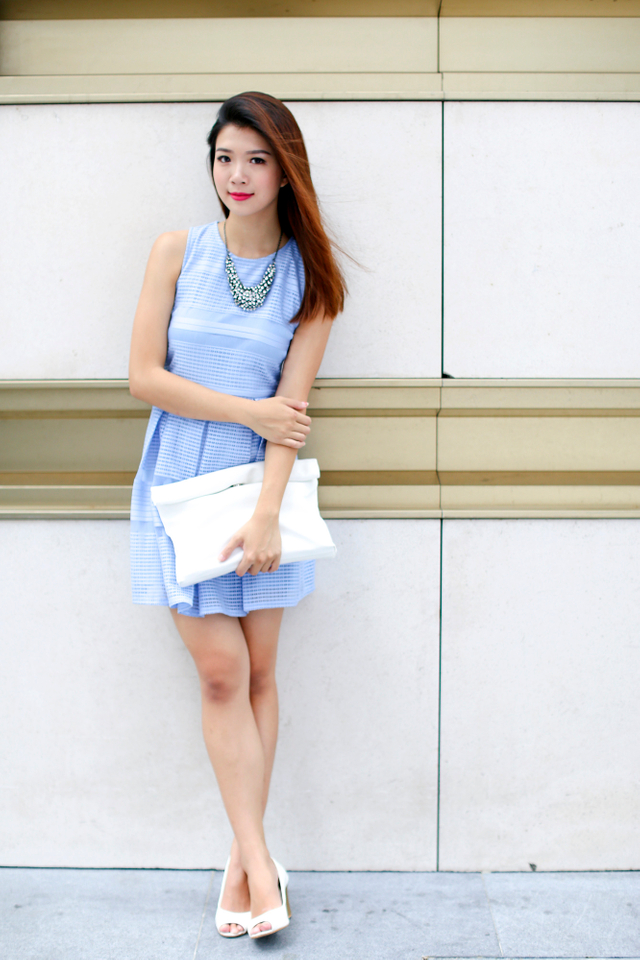 Portia Crochet Fringe Dress in Powder Blue