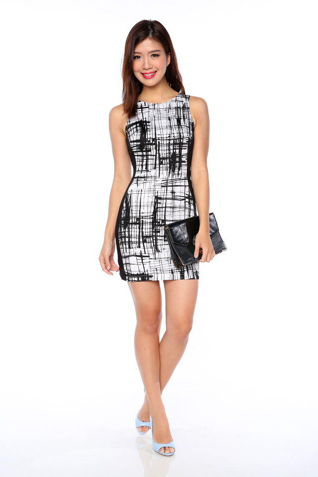 Sonia Side Panel Dress in Mono Abstract (White Base)