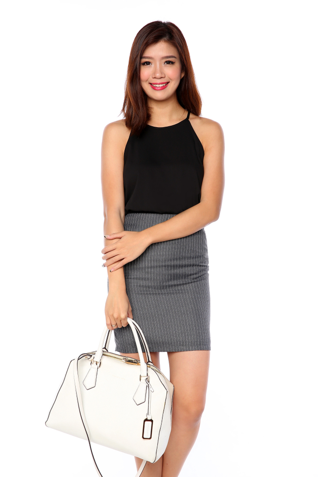 Tania Striped Pencil Skirt in Grey