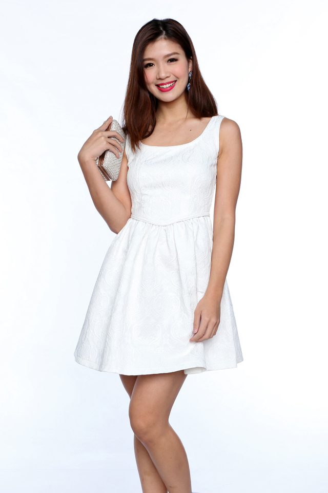 Estelle Princess Waist Dress in White