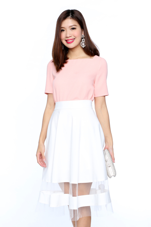 The New Faye Square Neck Top in Salmon Pink