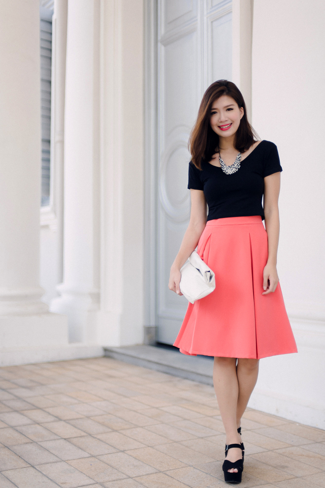 Millie Two Pleats Midi Skirt in Deep Coral Pink
