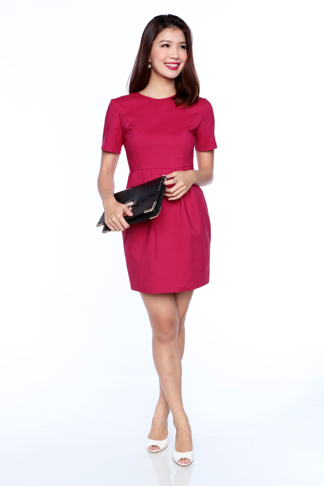 Rachelle Sleeved Work Dress in Rose