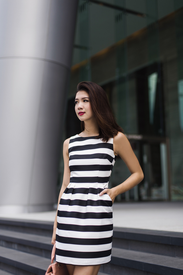 Corporate Beauty Dress in Bold Stripes