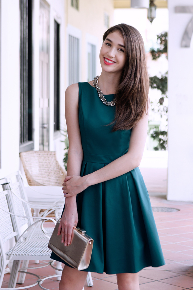 Eliza Bow Back Dress in Teal Green