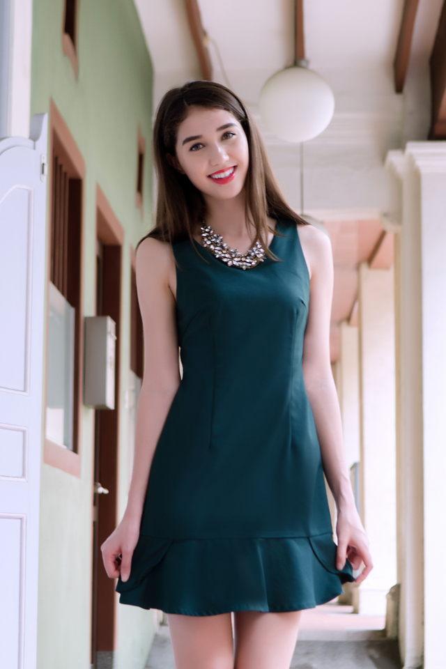 Hailey Trumpet Dress in Forest Green