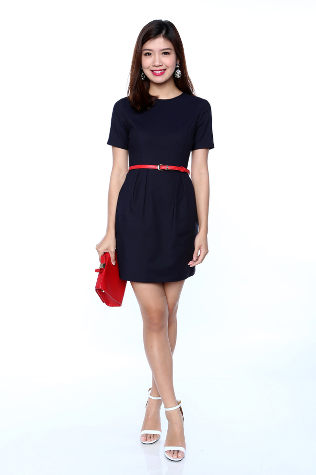 Rachelle Sleeved Work Dress in Navy