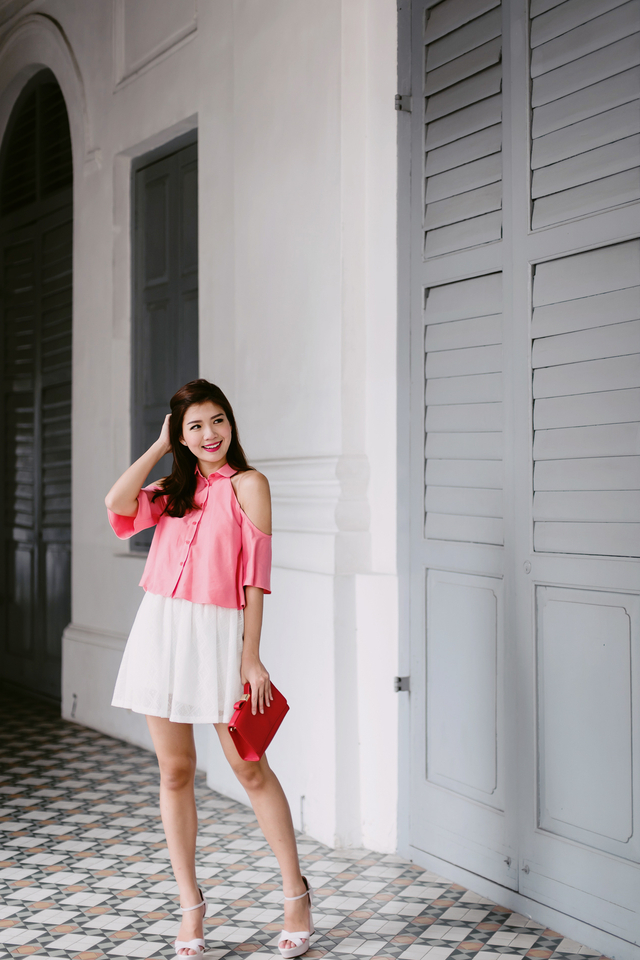 (FMTP x TIPPYTAPP) Preppy Threads Exposed Shoulder Top in Coral Pink