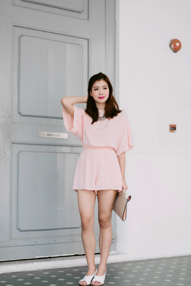 (FMTP x TIPPYTAPP) Batwing Sleeved Playsuit in Pink