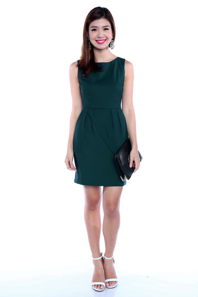 *RESTOCKED 3* Corporate Beauty Midi Dress in Forest Green