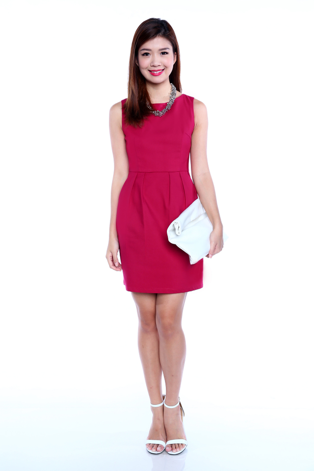 *RESTOCKED* Corporate Beauty Midi Dress in Rose