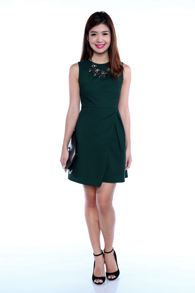 Kendall Origami Dress in Forest Green