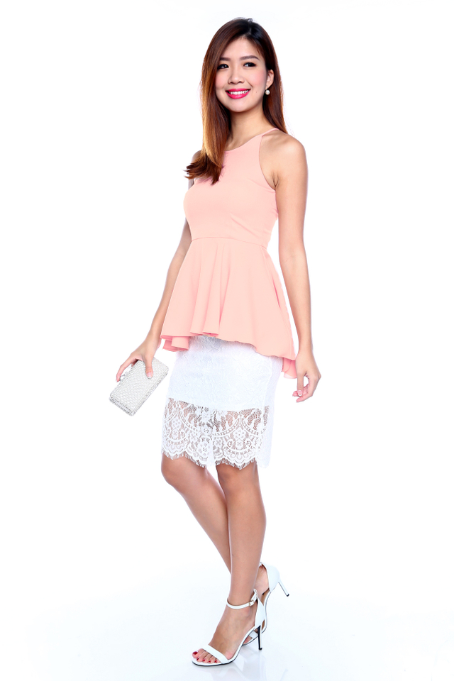 Winter Romance Lace Skirt in White