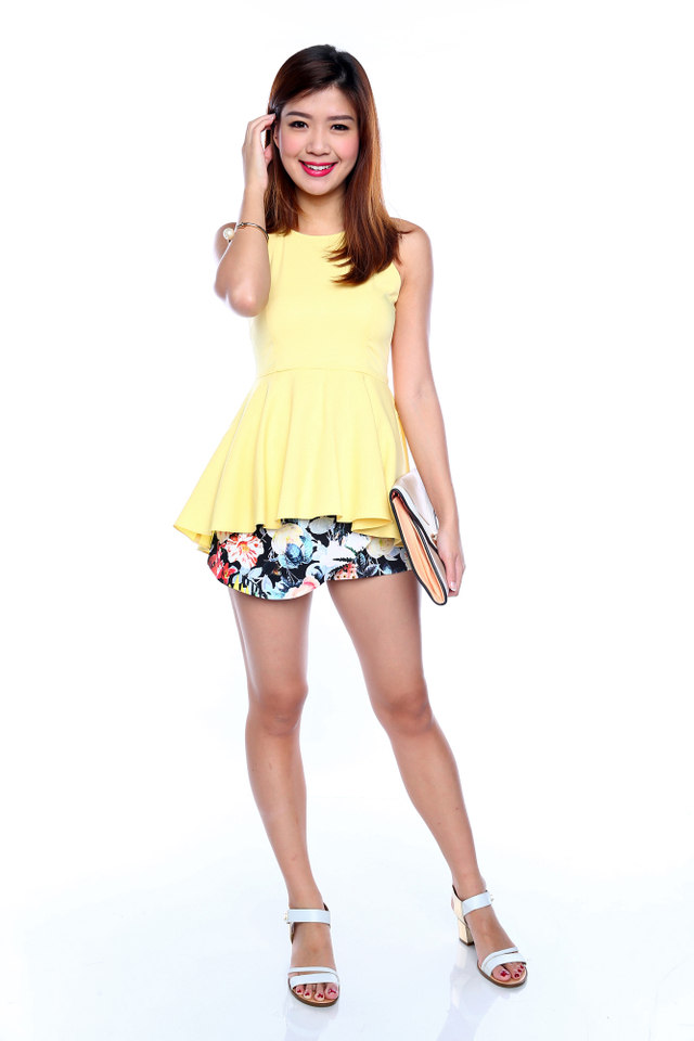 Shayla Hi-Lo Peplum Top in Yellow