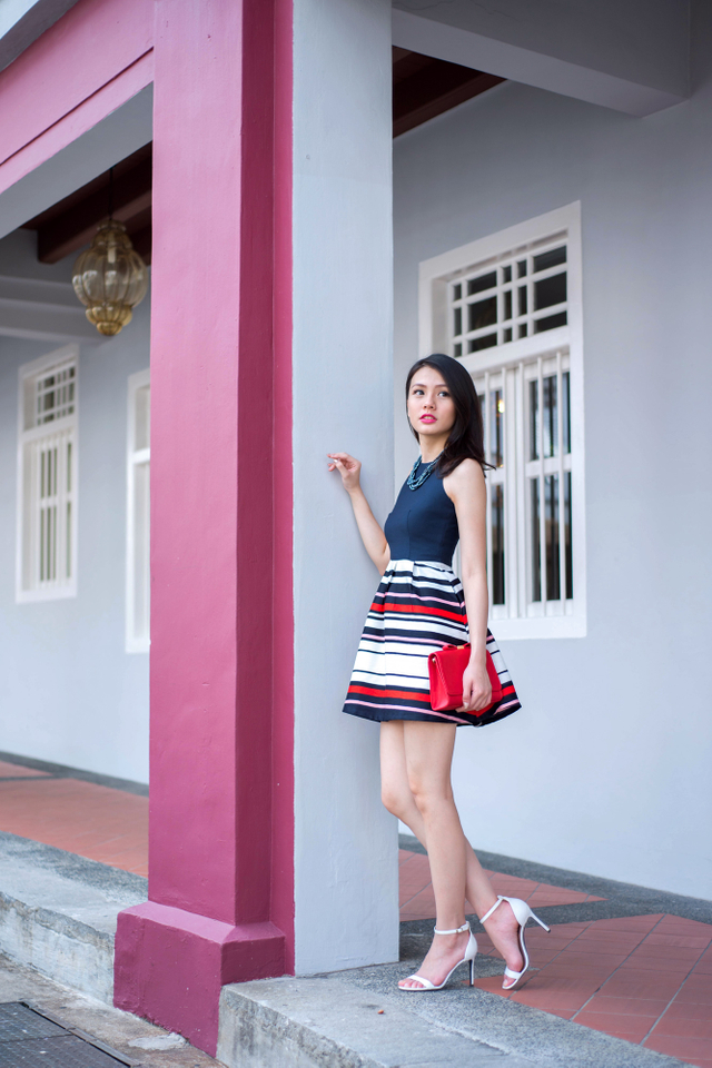 Adelia Dress in Fortune Red Stripes