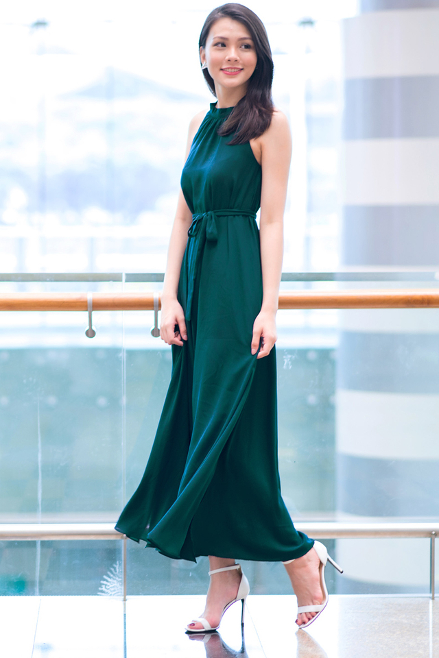 Hathaway Maxi Dress in Forest Green