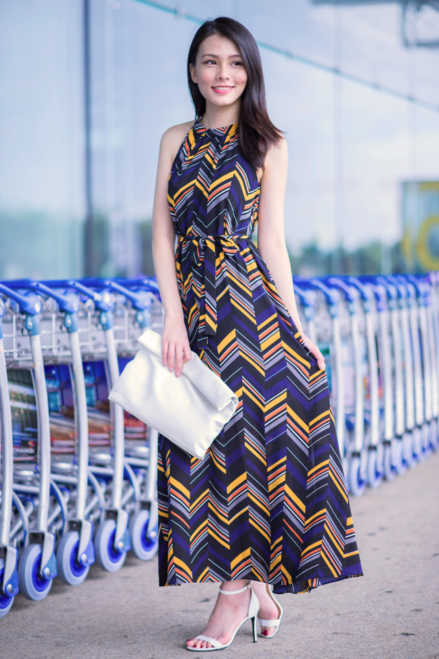 Hathaway Maxi Dress in Chevron Print
