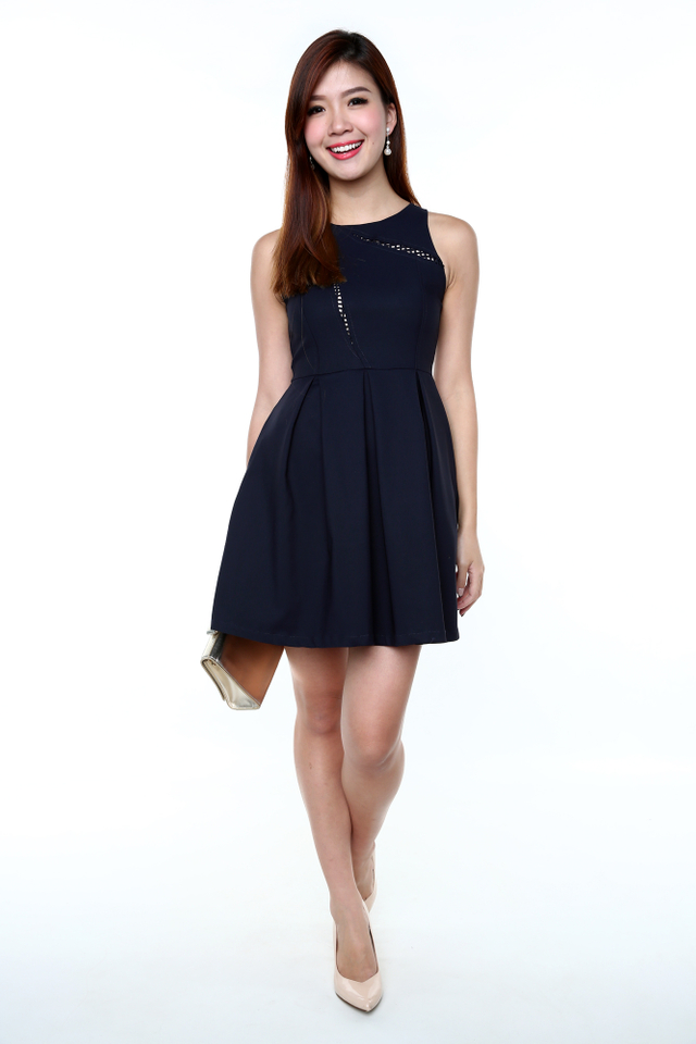 Kate Crochet Art Dress in Navy