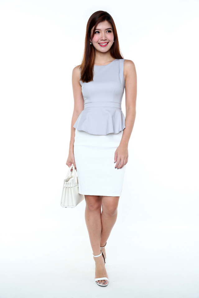 Elegance Aura Peplum Dress in Grey