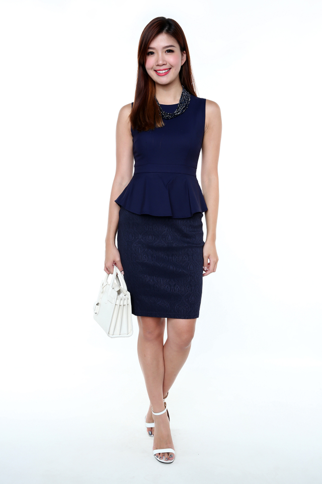 Elegance Aura Peplum Dress in Navy