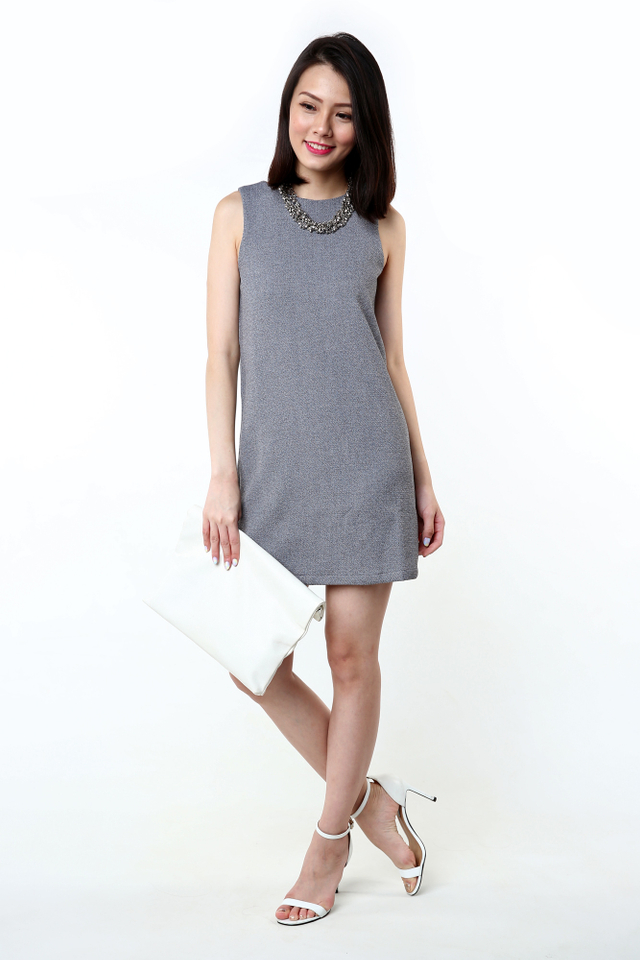 Simple Perfection Textured Shift Dress in Grey