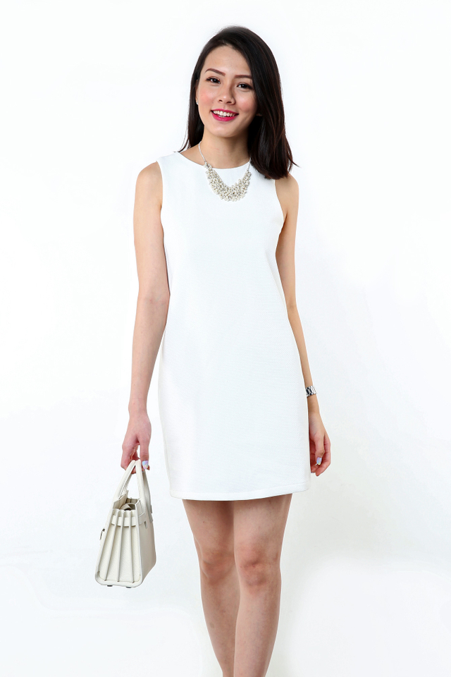 Simple Perfection Textured Shift Dress in White
