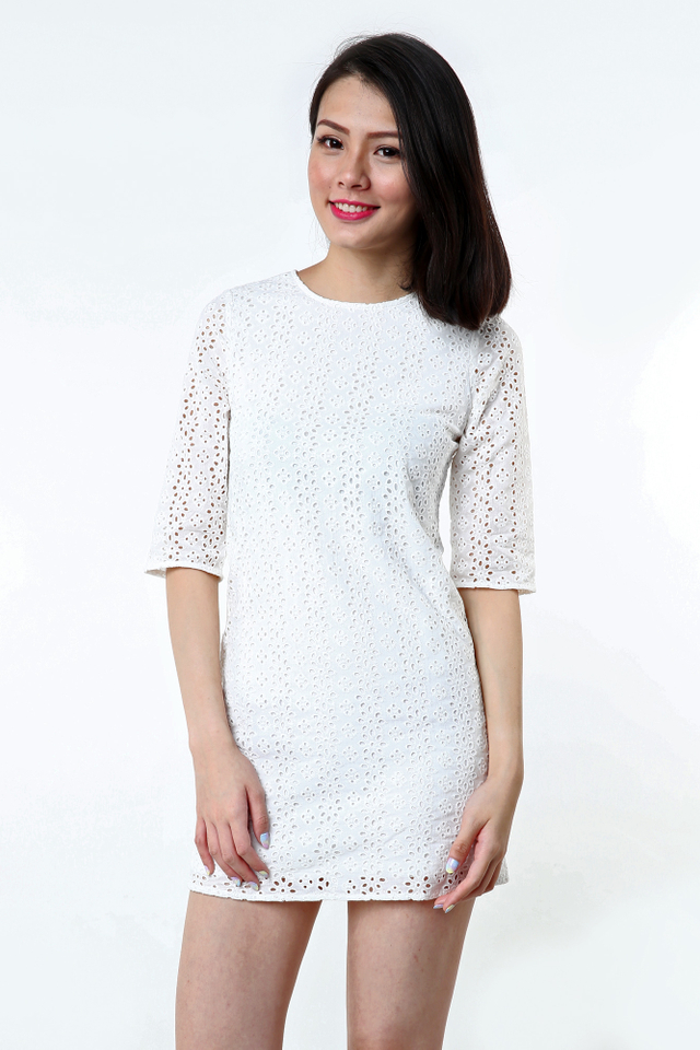 Lizzie Eyelet Dress in White