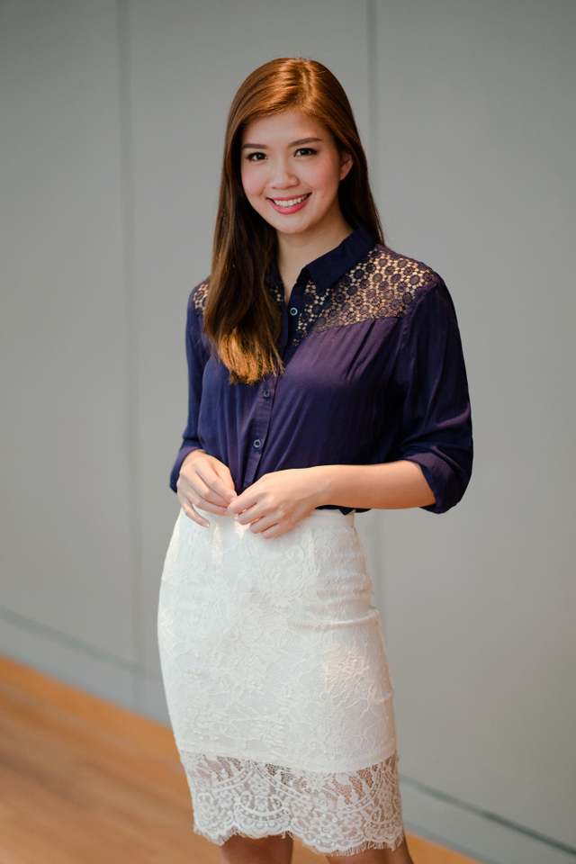 Crochet Relaxed Fit Shirt in Navy