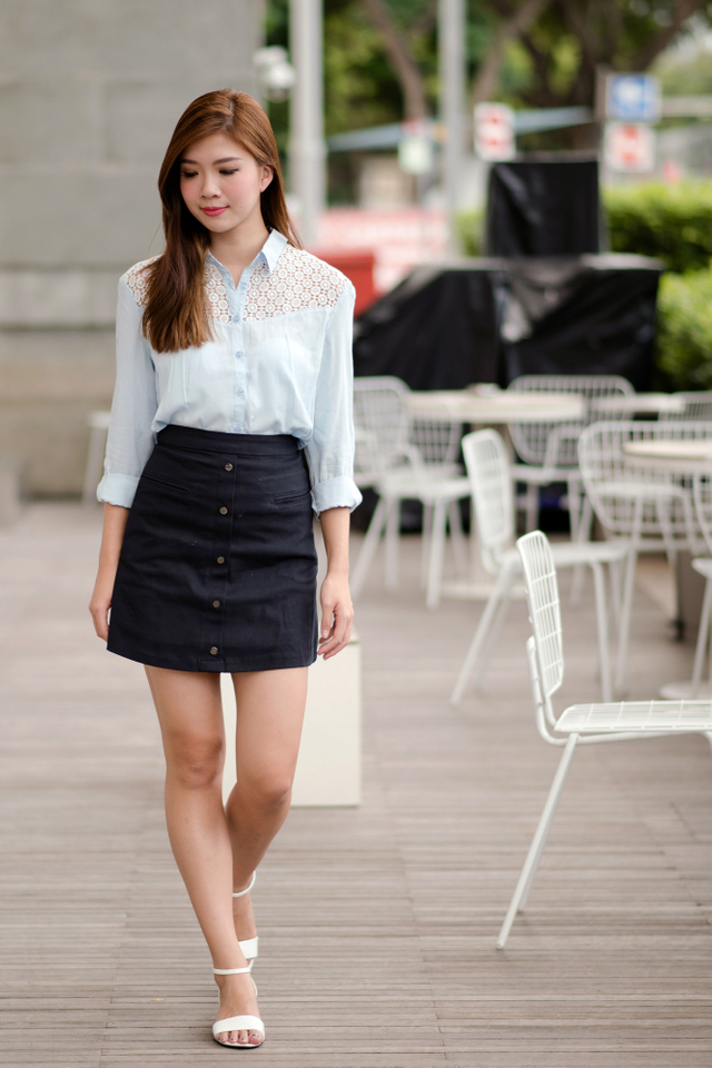 Crochet Relaxed Fit Shirt in Sky