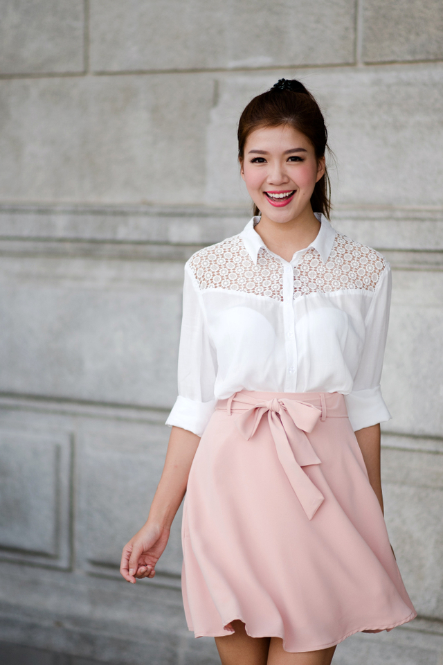 Let's Swing Skirt in Nude Pink